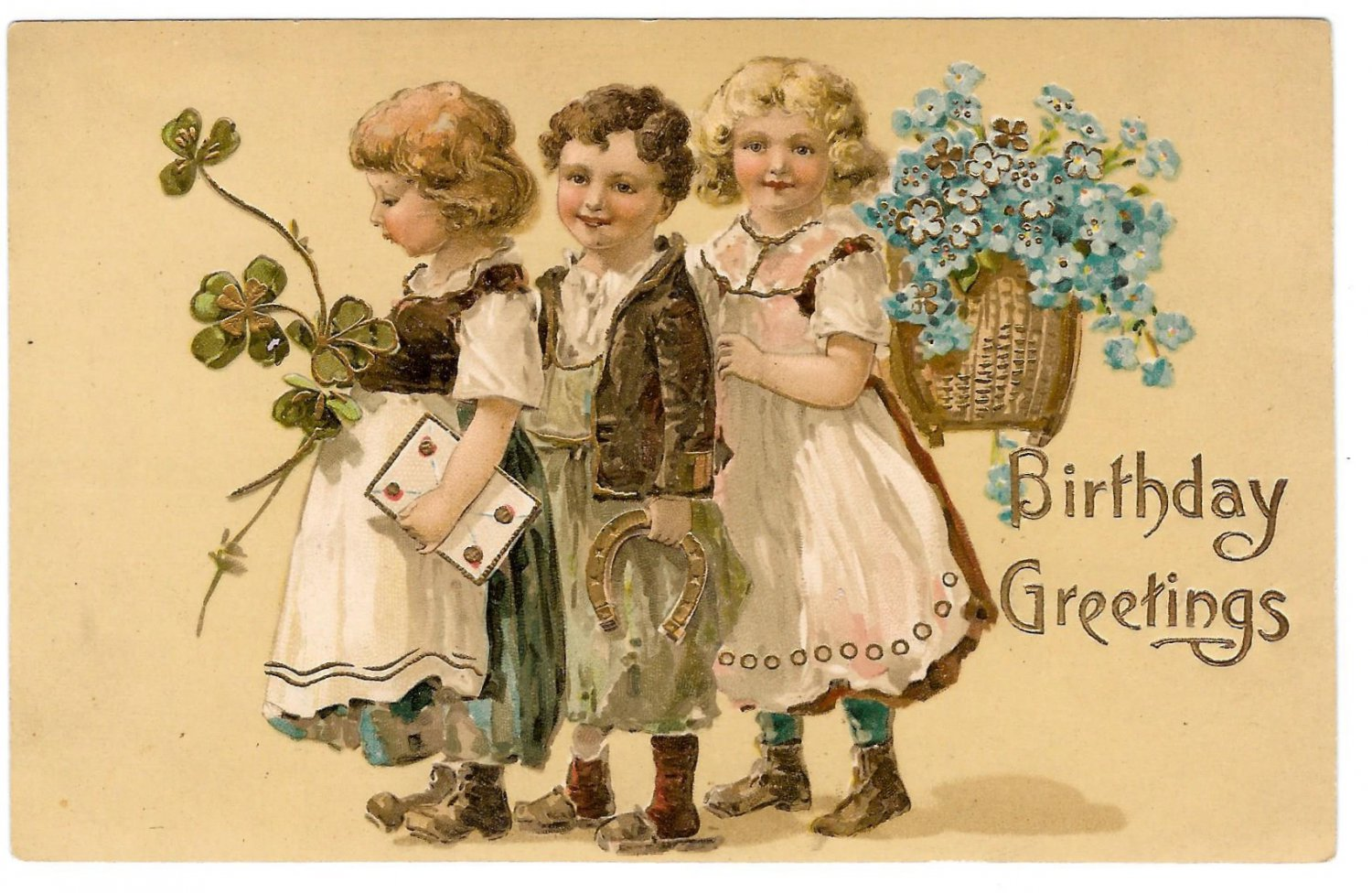 Birthday Greetings Children Carrying Forget Me Nots Horse Shoe Embossed Gilt Postcard