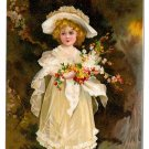 Loving Birthday Greetings Edwardian Girl in White w Flowers Vintage IAP Embossed Postcard