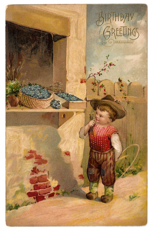 Birthday Greetings Boy Flower Stand Forget Me Nots Basket Embossed Postcard Germany
