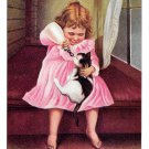1906 Sharing a Meal Girl Bottle Feeding Kitten Cat Vintage James Lee Co Postcard
