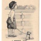 1911 Boy and Dog I Wonder Who Is Calling On Her Now Vintage Schlesinger Postcard
