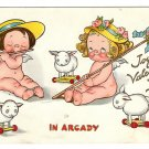 Tuck Drayton Wiederseim Postcard Joyous Valentine In Arcady Girls w Wings Sheep Toys