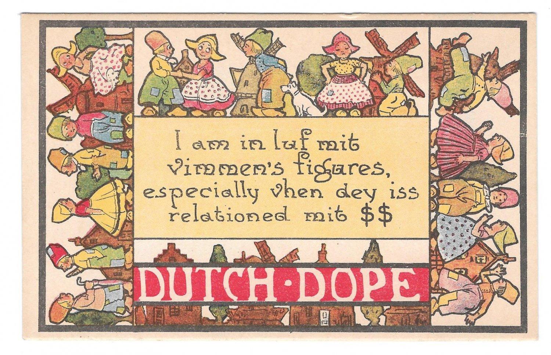 Dutch Dope I am in Luf mit vimmens figares Vintage Comic Postcard Samson Bros