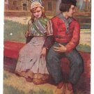Romantic Dutch Couple Boy Girl Holding Hands Folk Costume Vintage 1907 Postcard