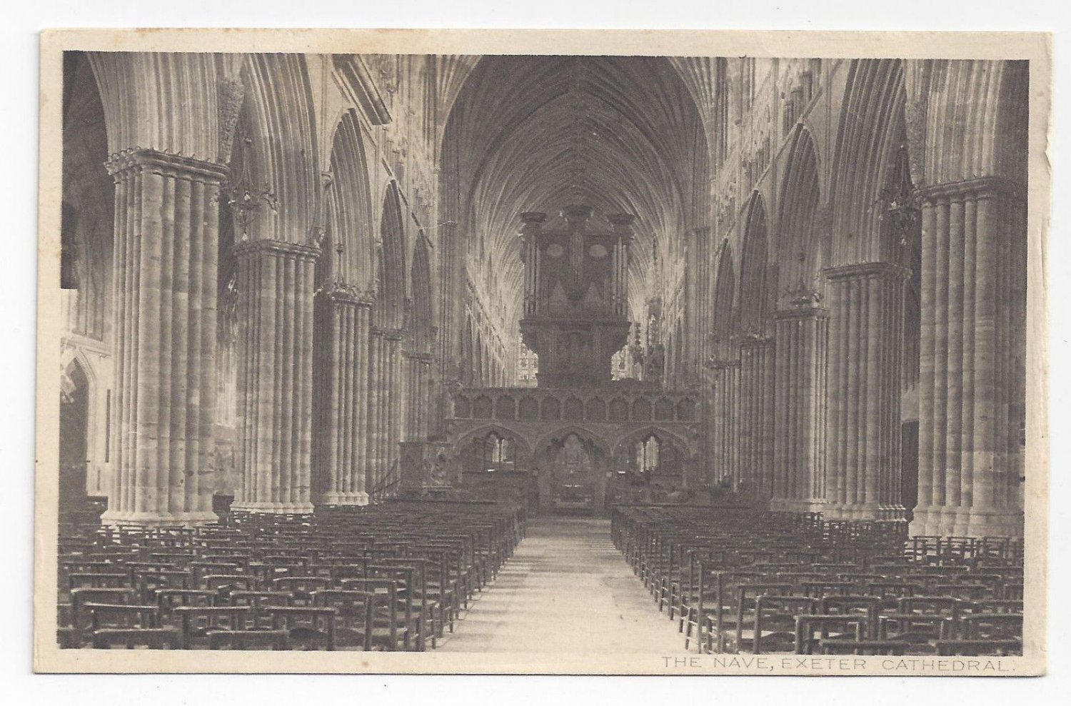 UK England Exeter Cathedral Nave S.A. Chandler Storyland Series Vntg Postcard
