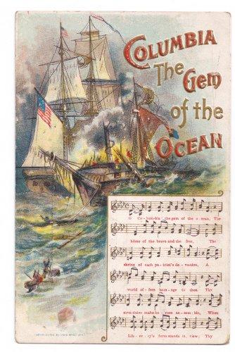 Columbia Gem of the Ocean Music Chas Rose c 1912 Embossed Postcard