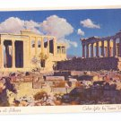 TWA Airlines Athens Greece Acropolis Vintage Advertising Travel Postcard Linen