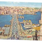 Galata Bridge Istanbul Turkey 1978 Boats Ship Golden Horn 4X6 Postcard