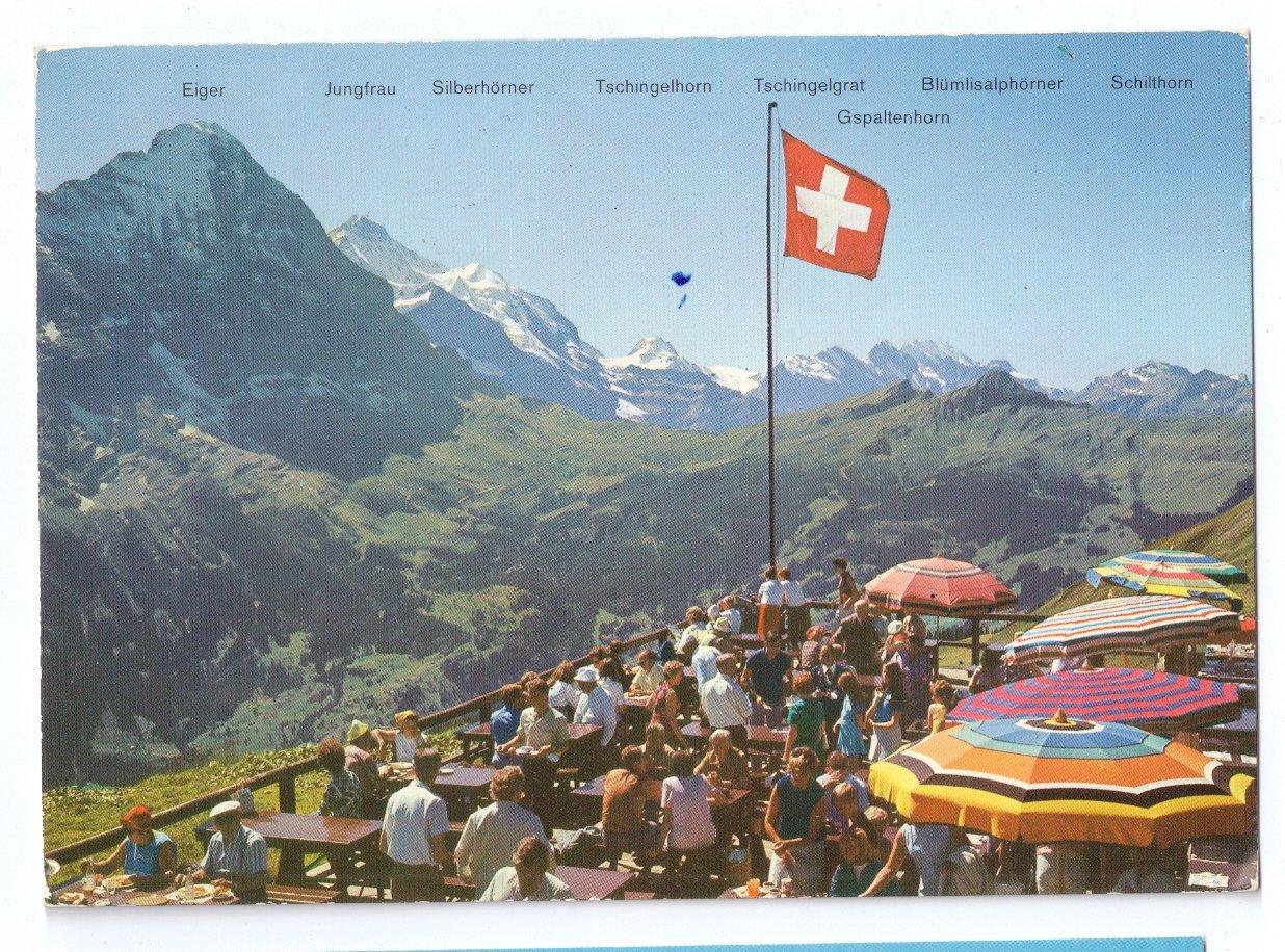 Switzerland Grindelwald Bergrestaurant Alps Restaurant 4X6 Postcard 1972