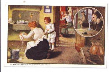 Bell Telephone Advertising Postcard AT&T Household Emergencies Vintage Postcard