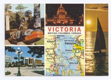 Canada British Columbia Victoria 1978 Multiview Map Vintage 4X6 Postcard
