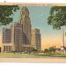Buffalo NY New City Hall Vintage New York Linen Postcard Metrocraft