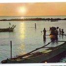 Philippines Manila Bay Fishermen's Boats Sunset Vintage 4X6 Postcard