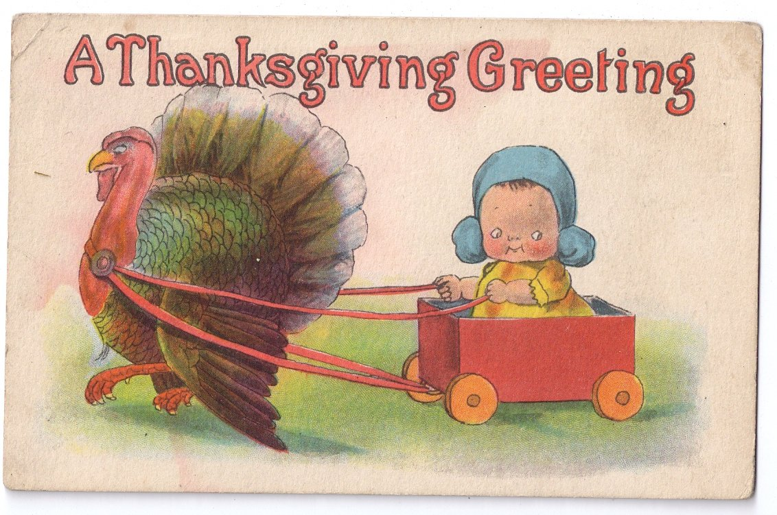 Turkey Pulling Cart with Baby Vintage Samson Bros Thanksgiving Postcard
