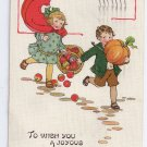 Tuck Thanksgiving Children Postcard No 191 Running Girl Boy Apples Pumpkin Vintage 1916