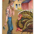 Thanksgiving Farmer Choosing Turkey Thems Both Fine Birds Embossed Gold Moire Postcard