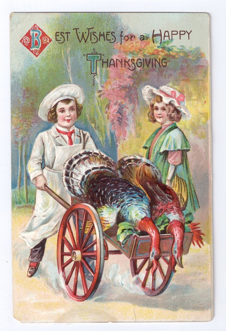 Vintage Thanksgiving Postcard Children Girl Butcher Boy w Turkey in Cart Embossed