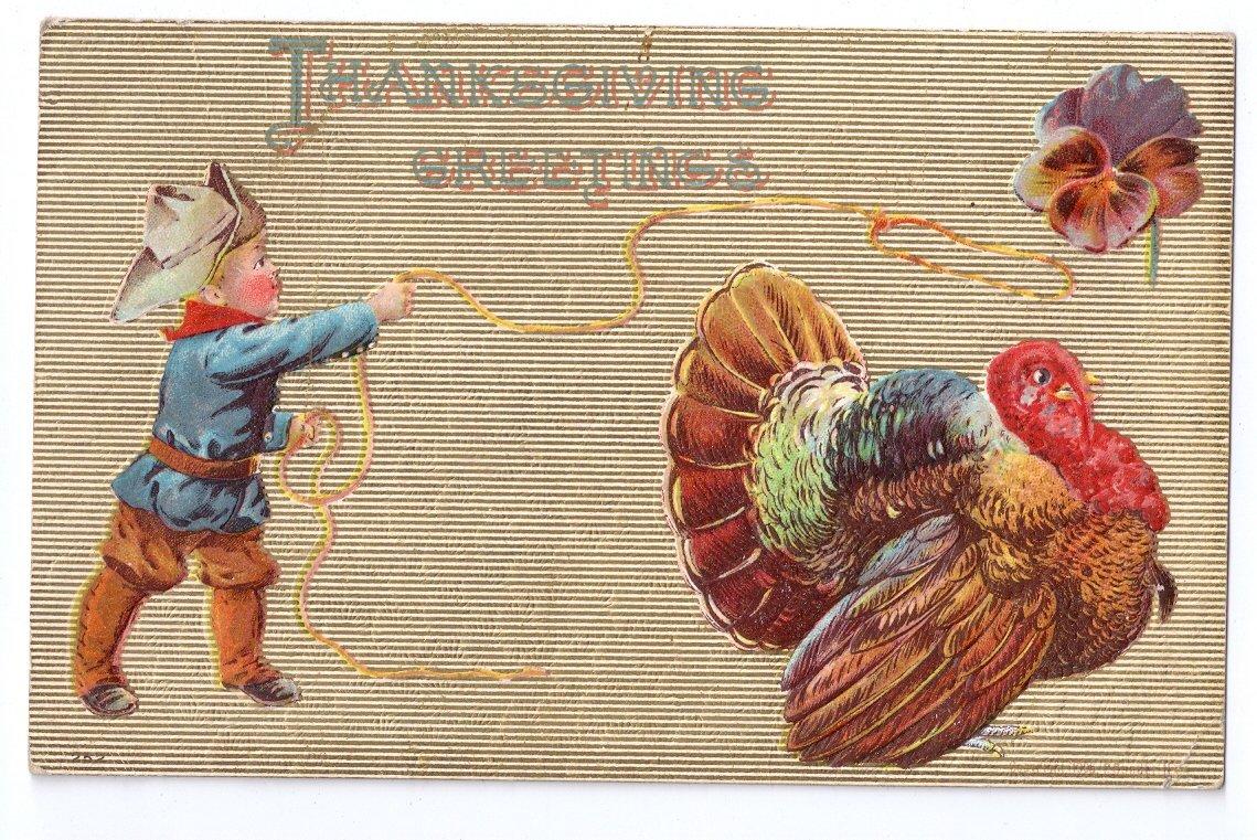 Thanksgiving Little Cowboy Roping Turkey with Lasso Embossed P. Sander Vintage Postcard