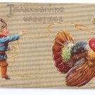 Thanksgiving Little Cowboy Roping Turkey with Lasso Embossed P. Sander Vintage Postcard