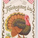 Patriotic Thanksgiving Turkey Knife Fork Vintage Embossed Gilded 1908 Postcard