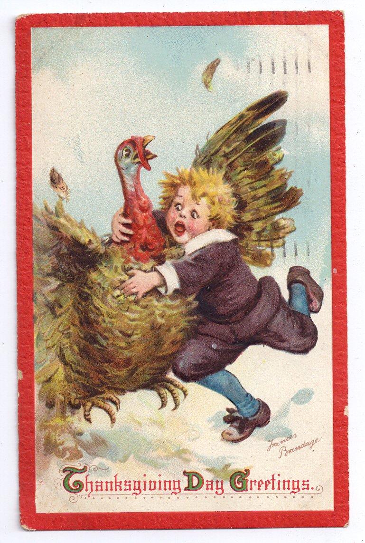 Artist Signed Brundage Thanksgiving Pilgrim Boy Catches Turkey Vintage Embossed Postcard
