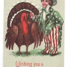 Patriotic Thanksgiving Uncle Sam Boy and Turkey Vintage 1910 Postcard