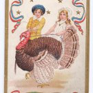 Patriotic Thanksgiving Postcard Children Catching Turkey Gold Embossed 1907 Flag Cancel