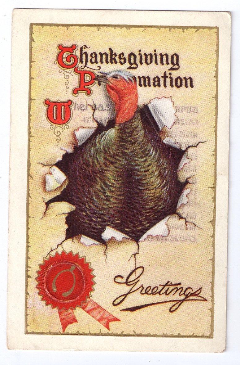Thanksgiving Turkey Proclamation Gold Gilding Vintage 1912 Embossed Postcard