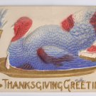 Vintage Thanksgiving Postcard Airbrushed Embossed Turkey on Gold Gilded Platter