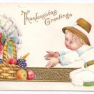 Thanksgiving Pilgrim Boy Child Turkey Fruit Basket Vintage Gold Embossed Postcard