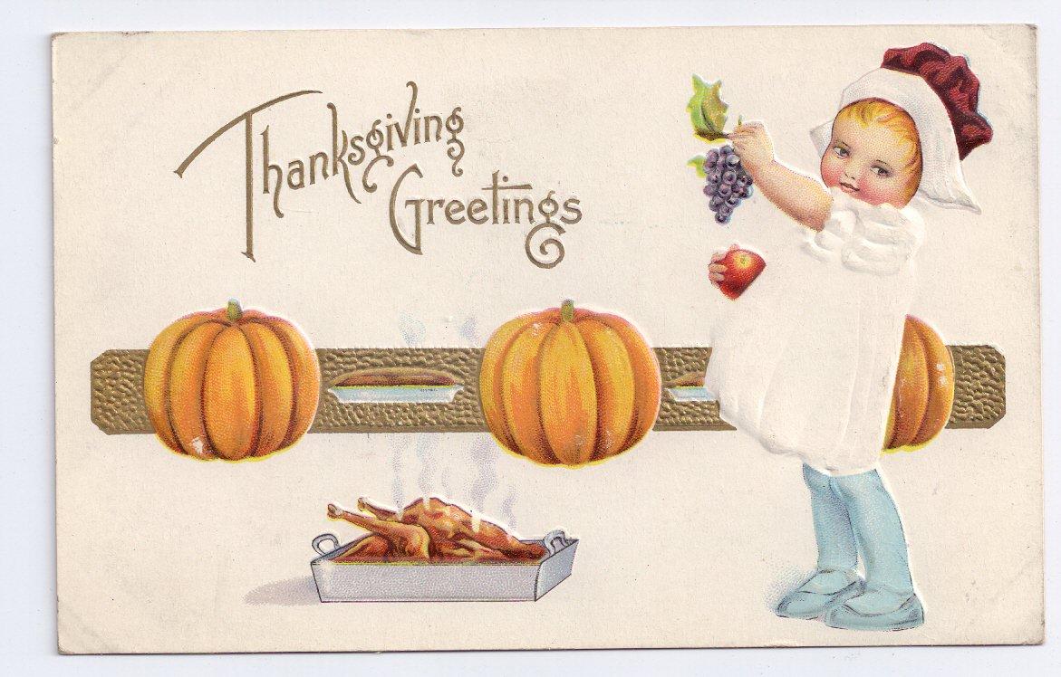 Thanksgiving Girl Pumpkins Child Roast Turkey Gold Embossed Vintage Postcard