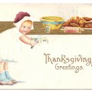 Thanksgiving Girl Trimming Pie Child Roast Turkey Vintage Gold Embossed Postcard