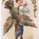 Thanksgiving Boy Carrying Turkey Over Shoulder Vintage Embossed Gold Gilded Jaeger Postcard