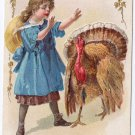 Vintage Thanksgiving Postcard Turkey Pretty Girl Gold Gilded Embossed 1910 Jaeger