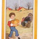 Vintage Thanksgiving Postcard Whitney Made Boy Pumpkin Turkey Cottage Embossed Arts and Crafts