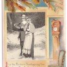 Pilgrims Grandfather Clock Vintage Embossed Thanksgiving Postcard 1909 Winsch Back
