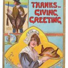 Pilgrim Hunter and woman with Roast Turkey Embossed Vintage Thanksgiving Postcard 1910