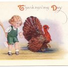 Turkey Child Hiding Hatchet Axe Behind Back Vintage Fairman Co Thanksgiving Postcard
