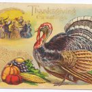 Turkey Cornucopia Family Feast Embossed Gold Gilded Vintage Thanksgiving Postcard