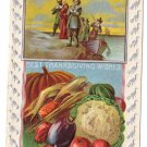 Signed Brundage Boy Baskets of Plenty Embossed Vintage 1913 Thanksgiving Postcard