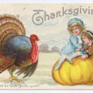 Children Pumpkin Turkey Embossed Vintage 1918 Thanksgiving Poscard Wont He Taste Goody Good