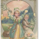Vintage Easter Postcard Embossed Gilt Children Colonial Boy Pretty Girl Eggs