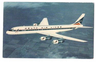 Delta Air Lines Aircraft Douglas DC-8 Fanjet Airplane Vintage Aviation Postcard