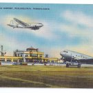 Philadelphia Pennsylvania Airport Aircraft Vintage Aviation Postcard Linen
