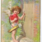 Cupid Cherub Knocking on Door Embossed Valentine Postcard Gold Gilt Winsch back
