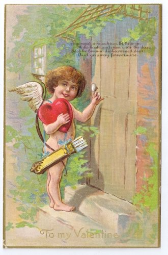 Cupid Cherub Knocking on Door Embossed Valentine Postcard Gold Gilt Winsch back