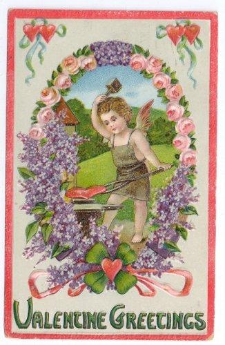 Cupid Cherub Blacksmith Anvil Forging Heart Embossed Vintage 1923 Valentine Postcard