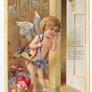 Cupid Cherub Listening at Door Roses Poem Embossed Gold Vintage Valentine Postcard