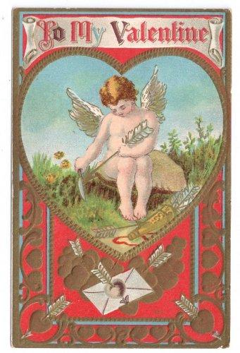 Cupid Sharpening His Arrow Embossed Gold Hearts Vintage Valentine Postcard