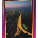 Chicago IL Lakeshore Drive Aerial Night View Bruno Marino Photo Vtg 4X6 Postcard